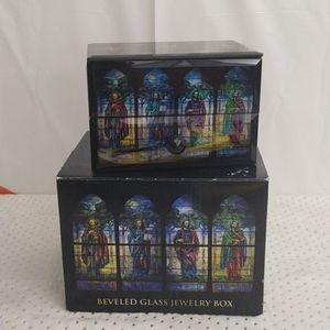 Black Beveled Stained Glass Jewelry Box